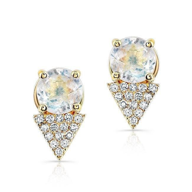 14KT Yellow Gold Moonstone Diamond Maddie Stud Earrings