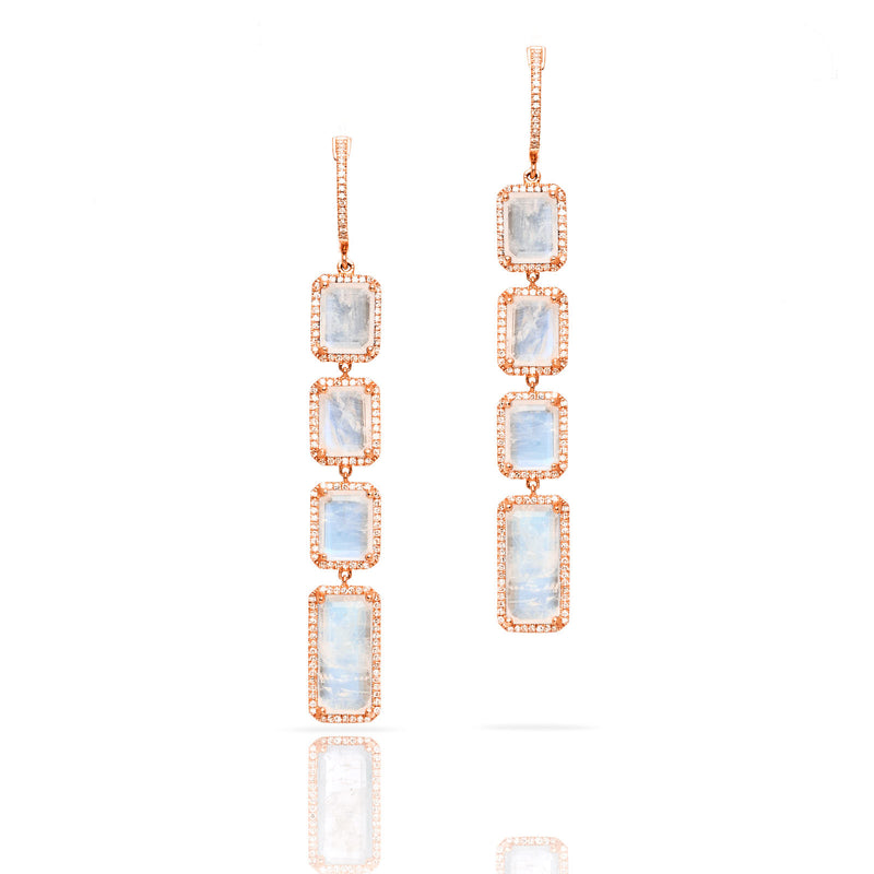 14KT Rose Gold Moonstone Diamond Geometric Earrings