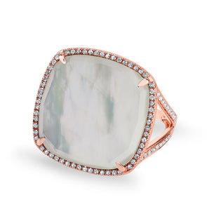 14KT Rose Gold Mother of Pearl Diamond Doublet Ring