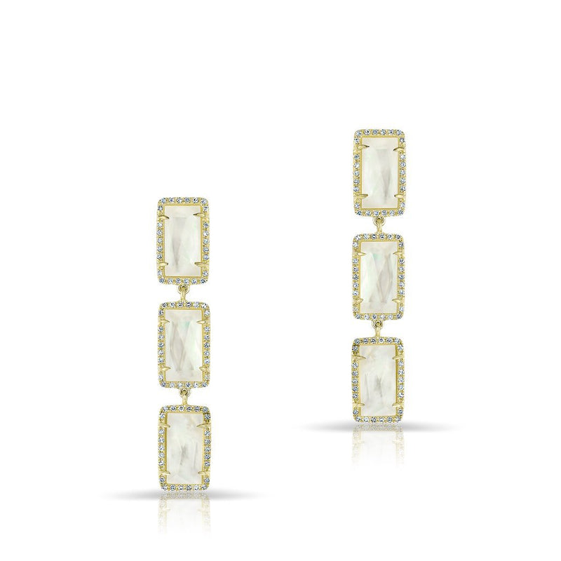 14KT Yellow Gold Mother of Pearl Diamond Triple Rectangle Drop Shandi Earrings