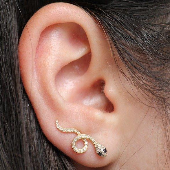 14KT Yellow Gold Black Diamond Snake Ear Climber-Anne Sisteron