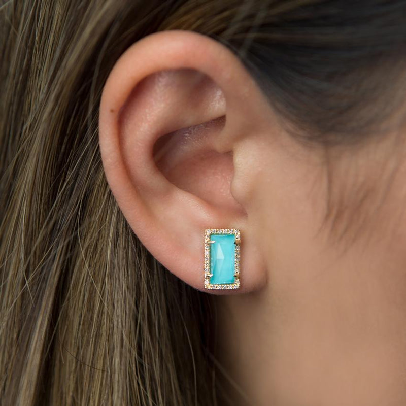14KT Rose Gold Diamond Turquoise Sara Stud Earrings-Anne Sisteron