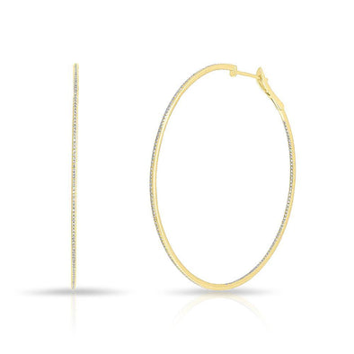 "14KT Yellow Gold Diamond 2.5"" Hoop Earrings"