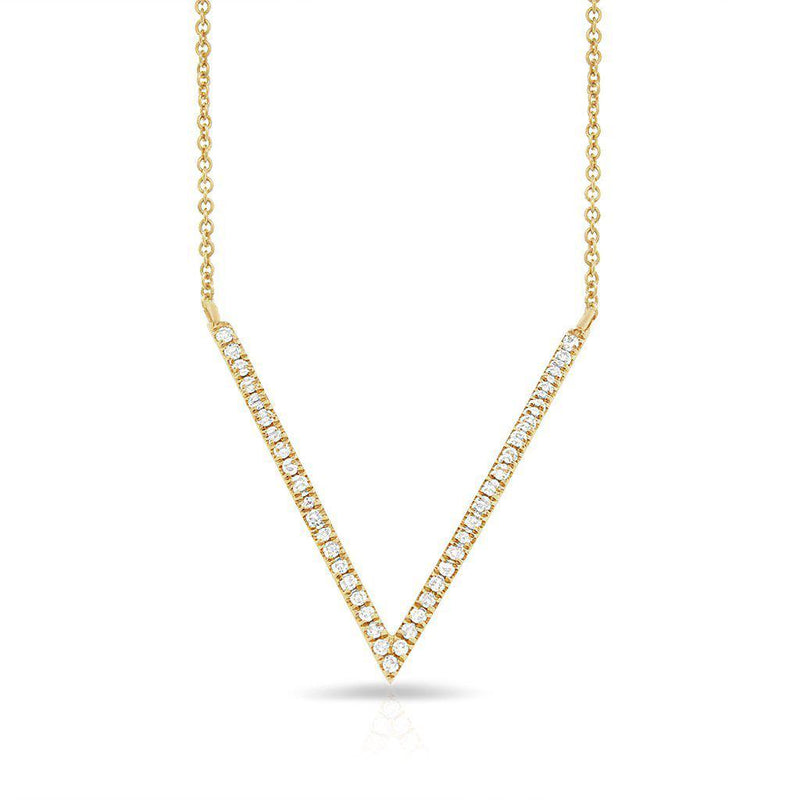14KT Yellow Gold Diamond V Necklace