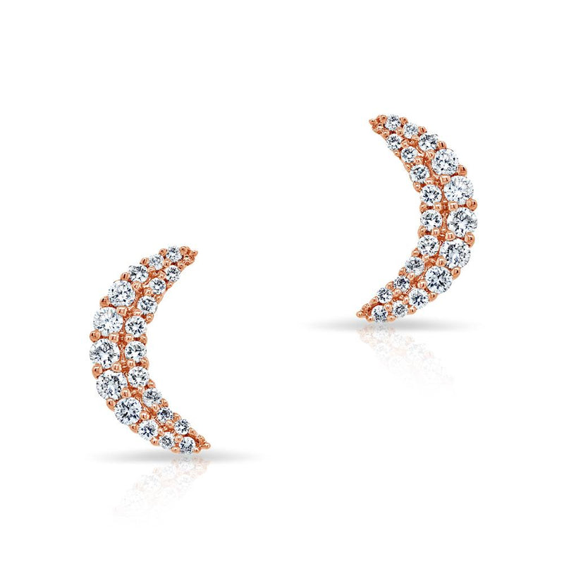 14KT Rose Gold Diamond Crescent Moon Stud Earrings