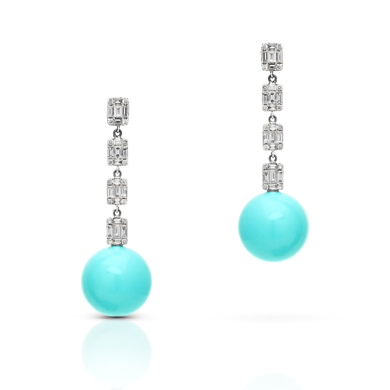 14KT White Gold Baguette Diamond Turquoise Gumball Drop Earrings