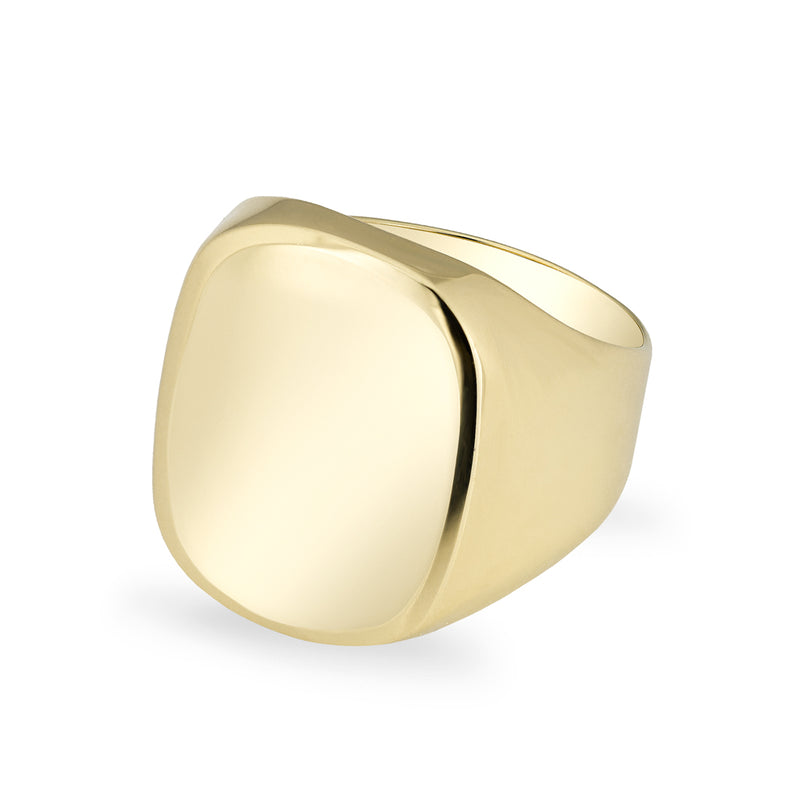 14KT Solid Yellow Gold Rounded Rectangle Signet Ring