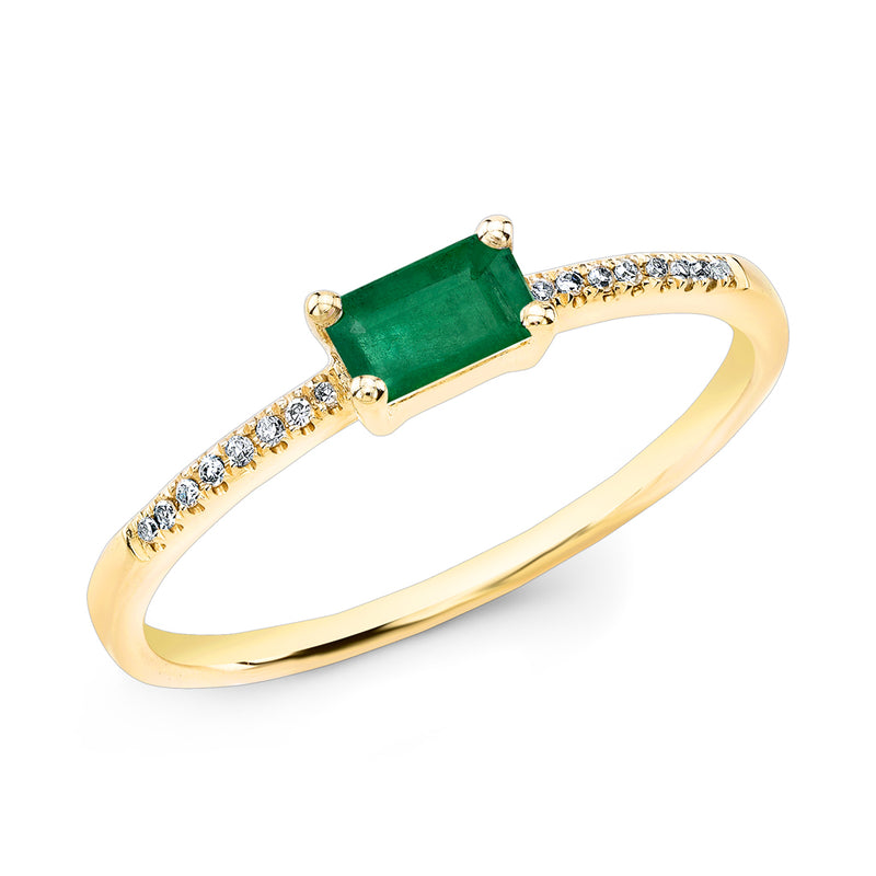 14KT Yellow Gold Emerald Diamond Maddie Ring