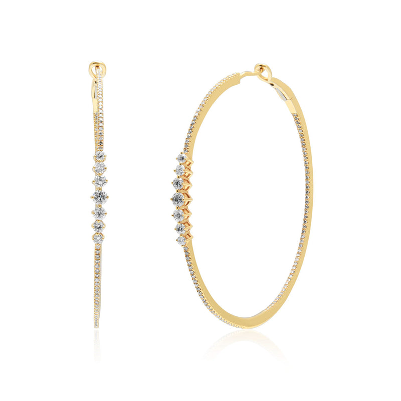 14KT Yellow Gold Diamond Gretchen Hoop Earrings