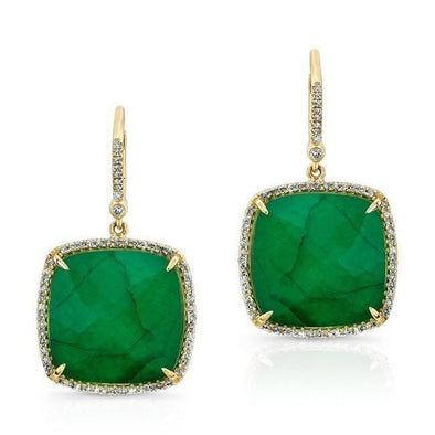 14KT Yellow Gold Emerald Diamond Large Cushion Cut Earrings