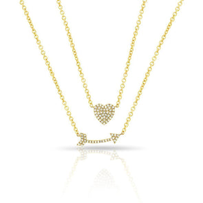 14KT Yellow Gold Diamond Cupid's Bow Necklace