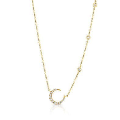 14KT Yellow Gold Diamond Mini Lunar Necklace