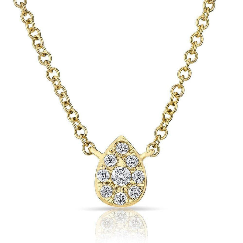 14KT Yellow Gold Diamond Mini Pear Joan Necklace