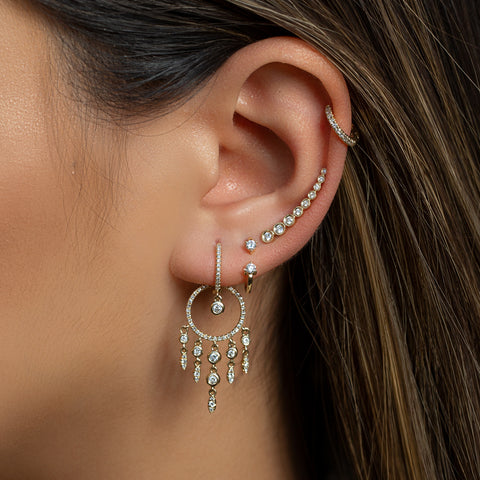 drop chandelier diamond huggie earrings indian tribe festival coachella droplets