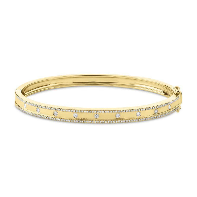 14KT Yellow Gold Diamond Trimmed Bangle