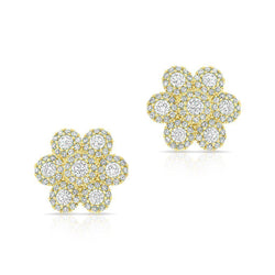 14KT Yellow Gold Diamond Abigail Flower Earrings