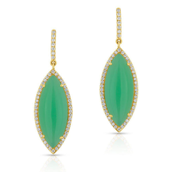 14KT Yellow Gold Diamond Chrysoprase Marquis Earrings-Anne Sisteron