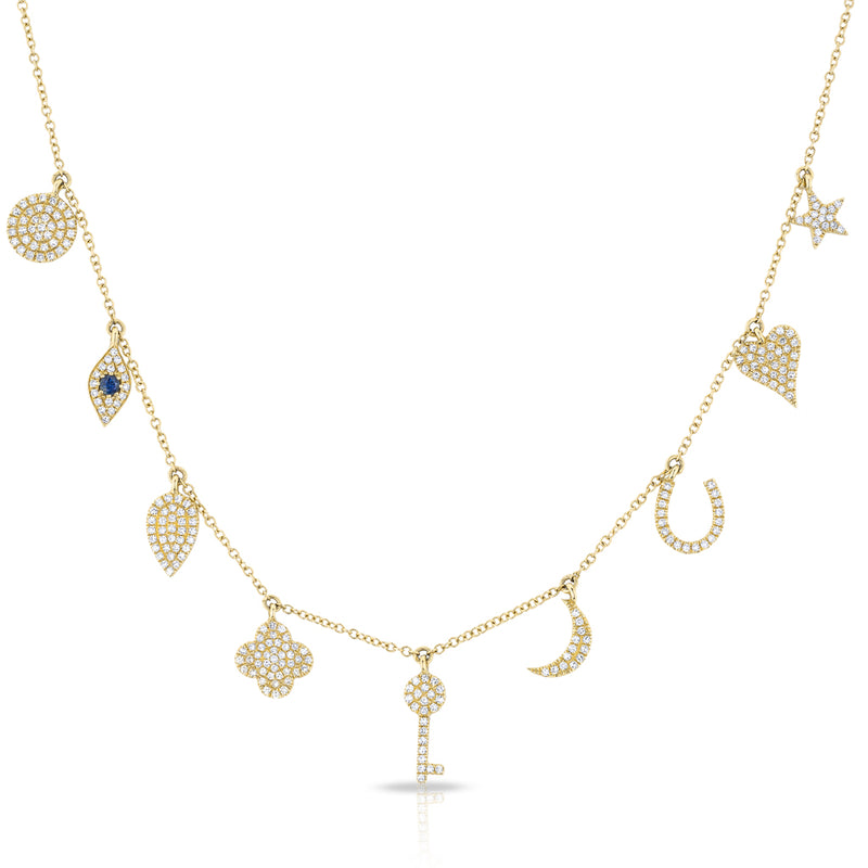 14KT Yellow Gold Diamond Multi Charm Kelsey Necklace