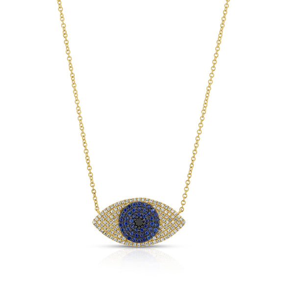 14KT Yellow Gold Blue Sapphire Diamond Evil Eye Necklace