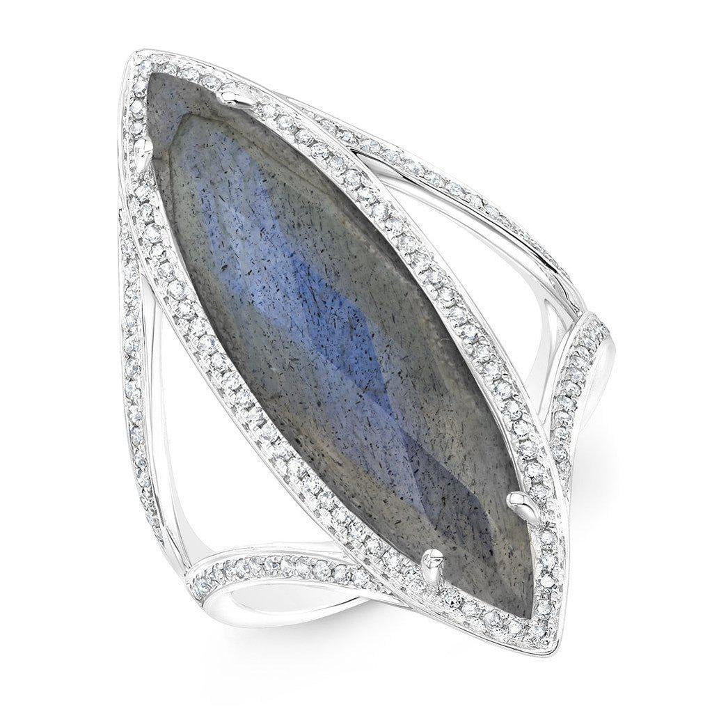 14KT White Gold Diamond Labradorite Alexis Ring