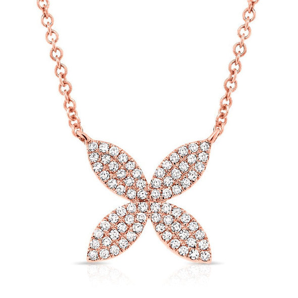 14KT Rose Gold Diamond Flower Necklace
