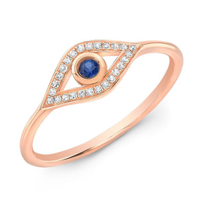 14KT Rose Gold Diamond Sapphire Open Evil Eye Ring