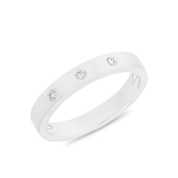 14KT White Gold Diamond Matte Band Ring