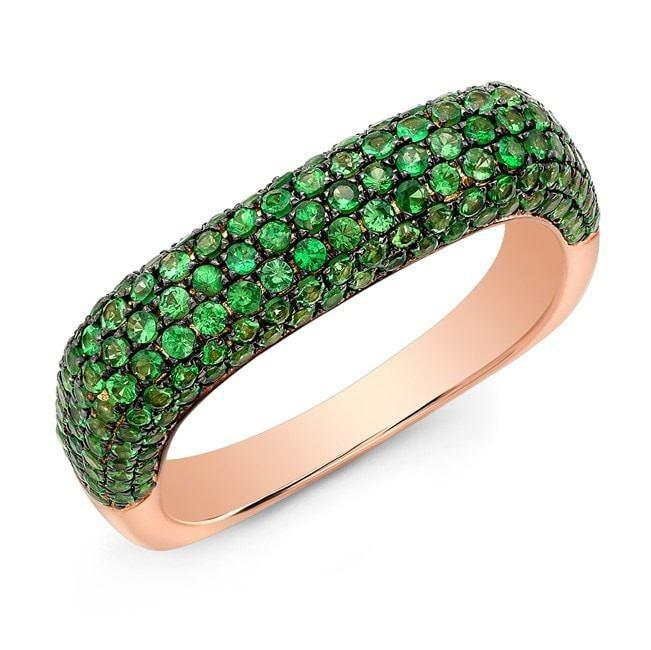 14KT Rose Gold Tsavorite Square Ring