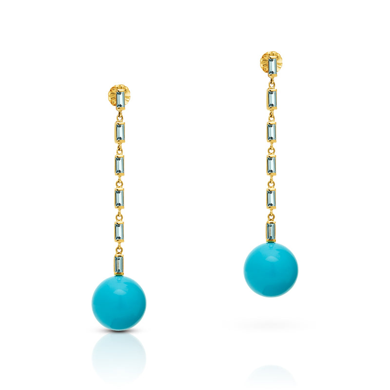 14KT Yellow Gold Aquamarine Turquoise Gumball Drop Earrings