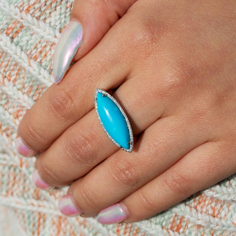 14KT White Gold Diamond Turquoise Marquis Ring-Anne Sisteron