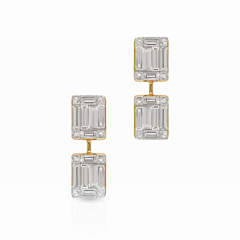 14KT Yellow Gold Baguette Diamond Astor Earrings