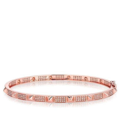 14KT Rose Gold Diamond Punk Rock Bangle