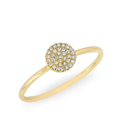 14KT Yellow Gold Diamond Round Disc Ring