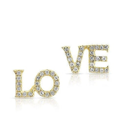 14KT Yellow Gold Diamond LOVE Stud Earrings