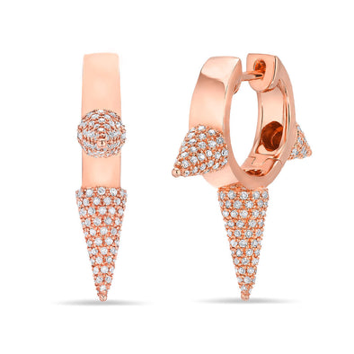 14KT Rose Gold Diamond Extreme Punk Rock Huggie Earrings