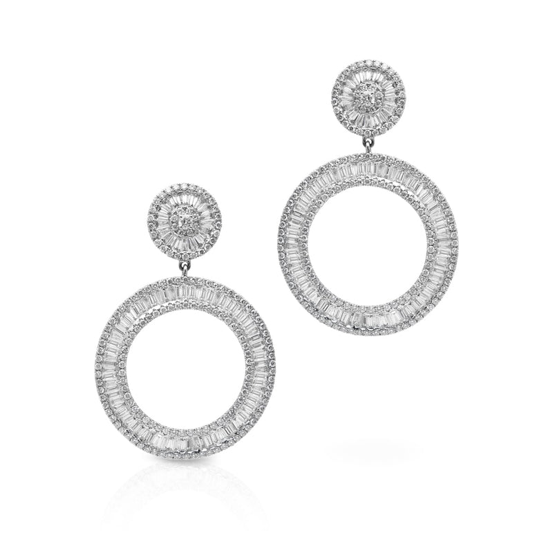 14KT White Gold Baguette Diamond Chandara Earrings