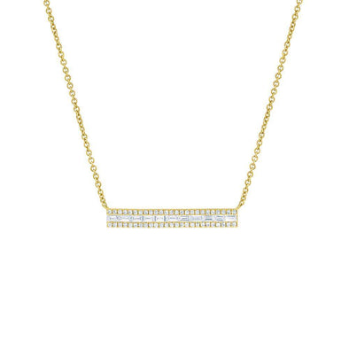 14KT Yellow Gold Baguette Diamond Brick Jordyn Necklace