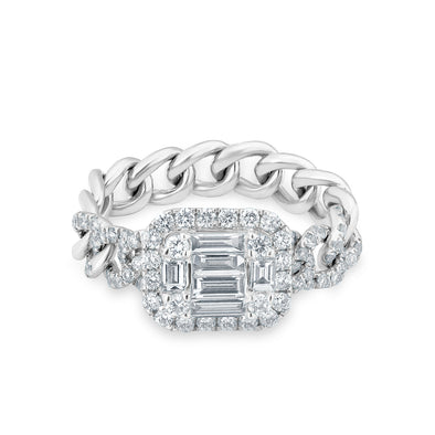 14KT White Gold Baguette Diamond Nikolina Ring