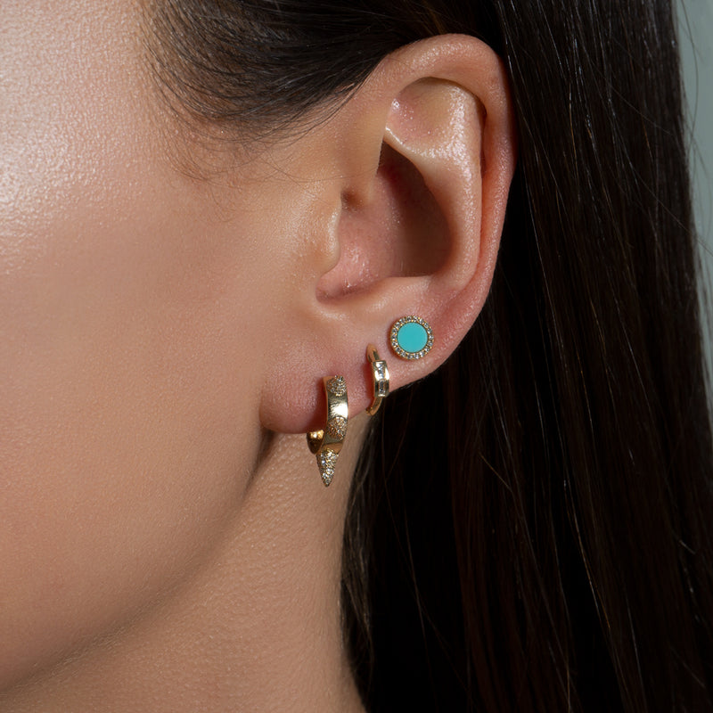 14KT Yellow Gold Turquoise Diamond Disc Stud Earrings-Anne Sisteron