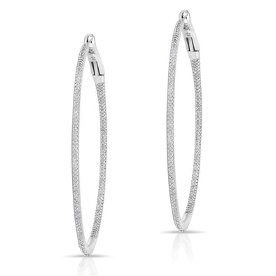 "14KT White Gold Diamond 2"" Hoop Earrings"