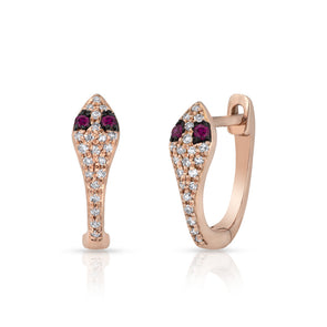 14KT Rose Gold Diamond Ruby Snake Huggie Earrings