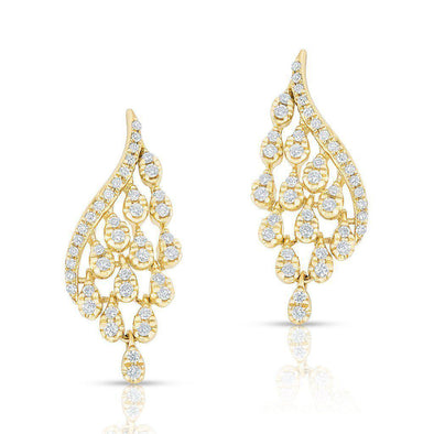 14KT Yellow Gold Diamond Drop Tipped Carice Earrings