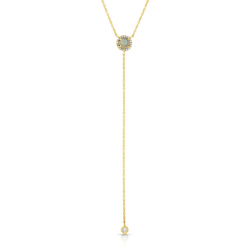 14KT Yellow Gold Labradorite Diamond Flirt Lariat Necklace