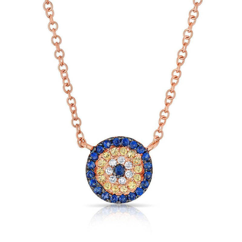 14KT Rose Gold Diamond And Sapphire Mini Disc Necklace