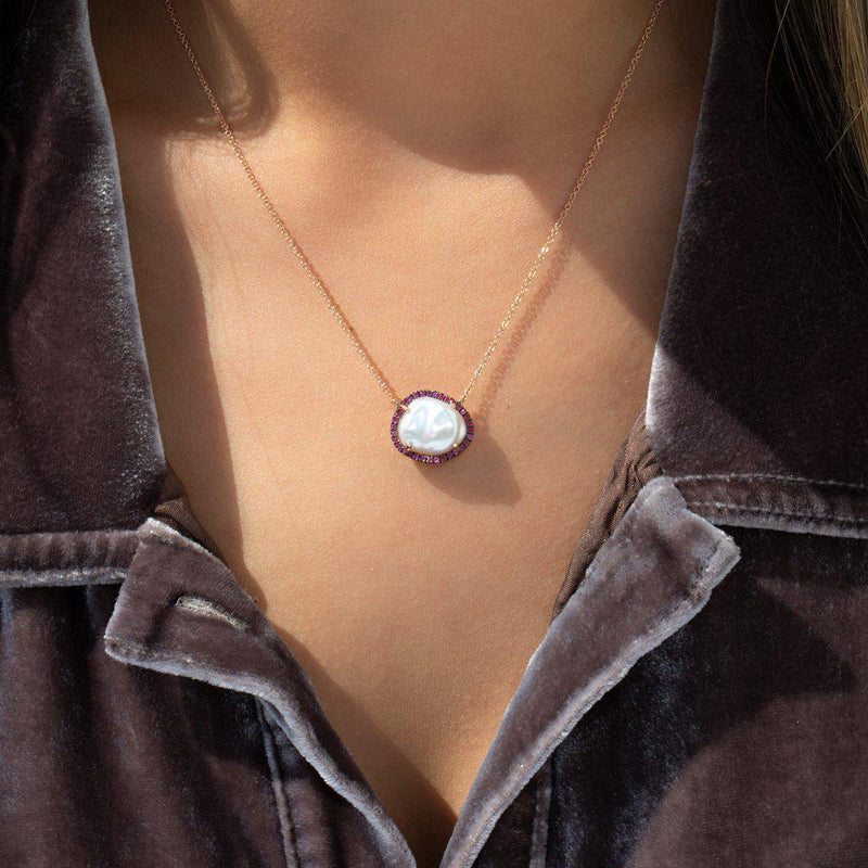 14KT Rose Gold Ruby and Pearl Necklace-Anne Sisteron