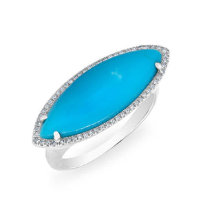 14KT White Gold Diamond Turquoise Marquis Ring