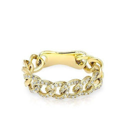 14KT Yellow Gold Diamond Chain Link Light Ring