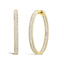 14KT Yellow Gold Baguette Diamond Hoop Earrings