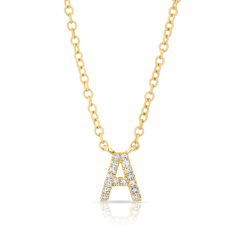14KT Yellow Gold Diamond Initial Pendant Necklace