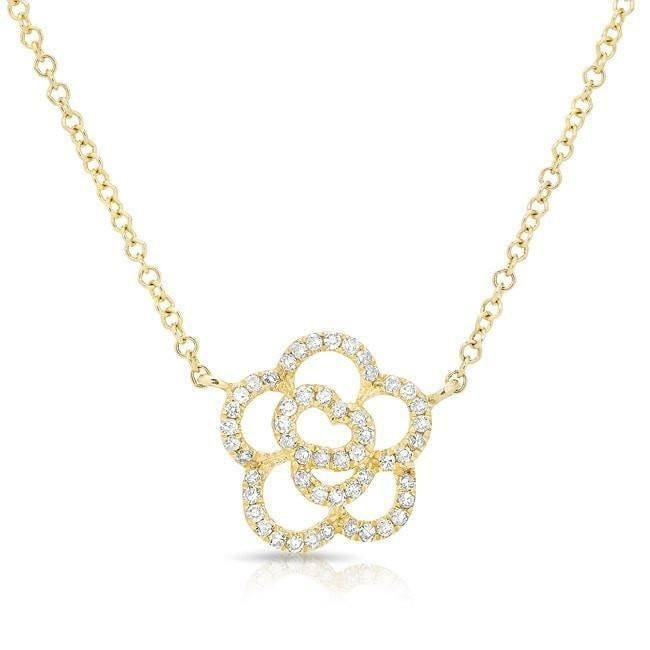 14KT Yellow Gold Diamond Camellia Flower Necklace